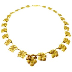 Vintage Gold '20 Karat' Necklace Depicting Vine Leaves and Grape Clusters