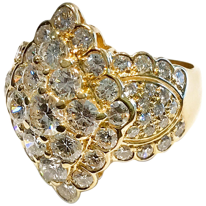 Vintage 18 Karat Diamond Cluster Cocktail Ring, 4.20 Carat