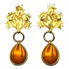 Vintage Gold & Amber Leaf Statement Earrings 1980s