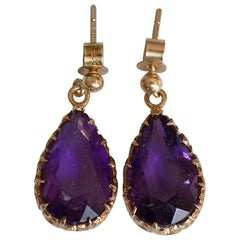 Vintage Gold Amethyst Teardrop Earrings London HM