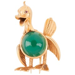 Vintage Gold and Agate French Duck Brooch