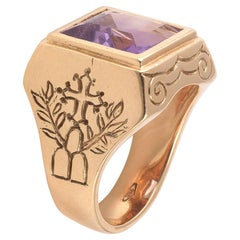 Vintage Gold and Amethyst Bishop Ring