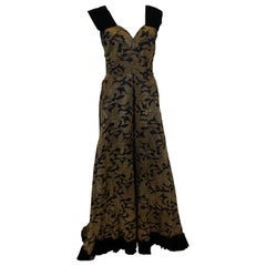 Vintage Gold and Black Evening Gown