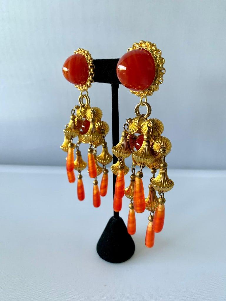 Post-War Vintage Gold and Carnelian Dangle Earrings  For Sale