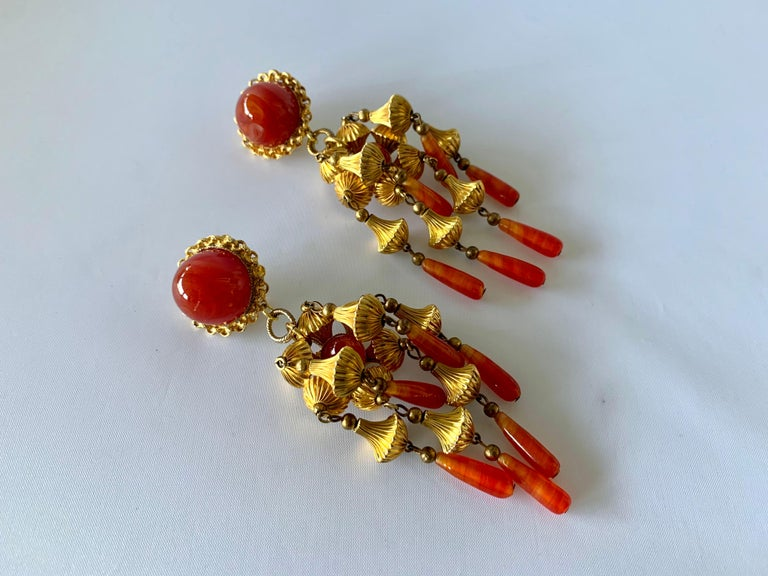 Bead Vintage Gold and Carnelian Dangle Earrings  For Sale
