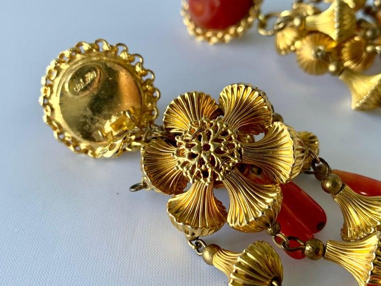 Women's Vintage Gold and Carnelian Dangle Earrings  For Sale