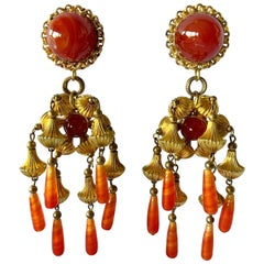Vintage Gold and Carnelian Dangle Earrings