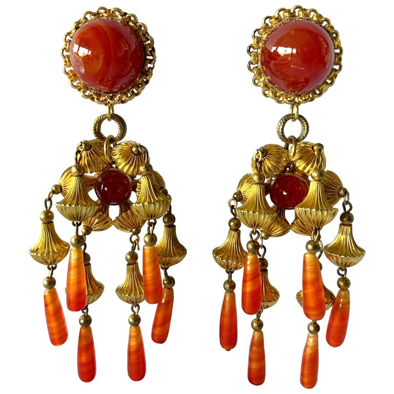 Vintage Gold and Carnelian Dangle Earrings  For Sale