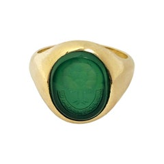Vintage Gold and Carnelian Intaglio Signet Ring