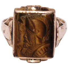 Vintage Gold and Carved Tiger's Eye Ring