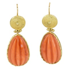 Vintage Gold and Coral Earrings, 1950s