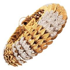 Vintage Gold and Diamond Flexible Link Bracelet