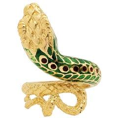 Vintage Gold and Enamel Snake Ring