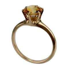 Vintage Gold and Orange Citrine Solitaire Ring