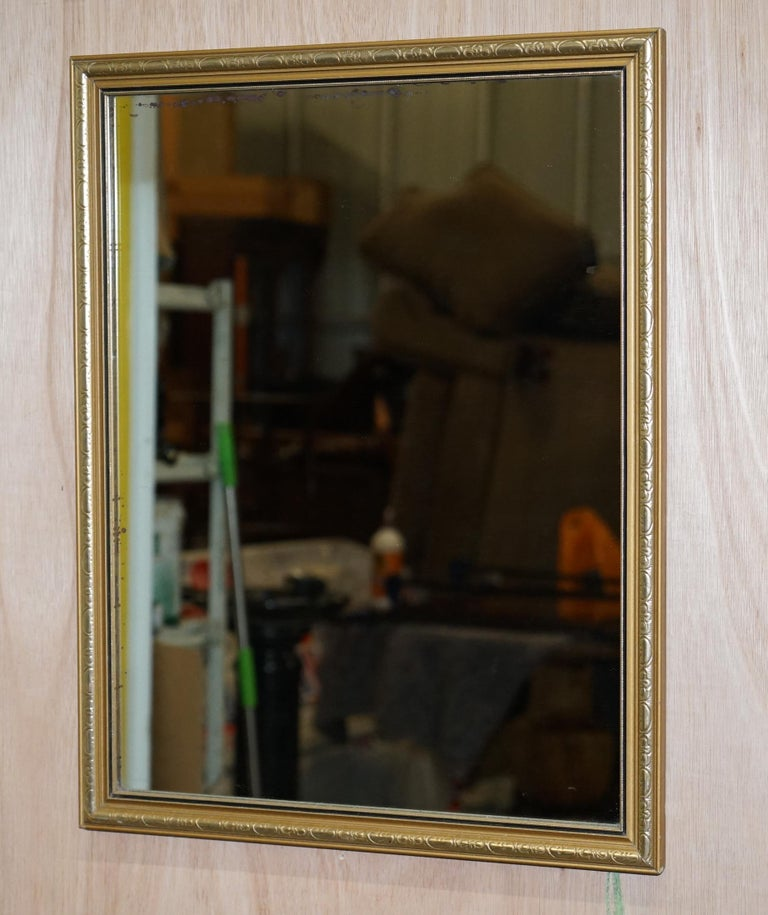 Modern Vintage Gold and Silver Leaf-Plated French Mirror over Solid Wood Heavy Framed For Sale