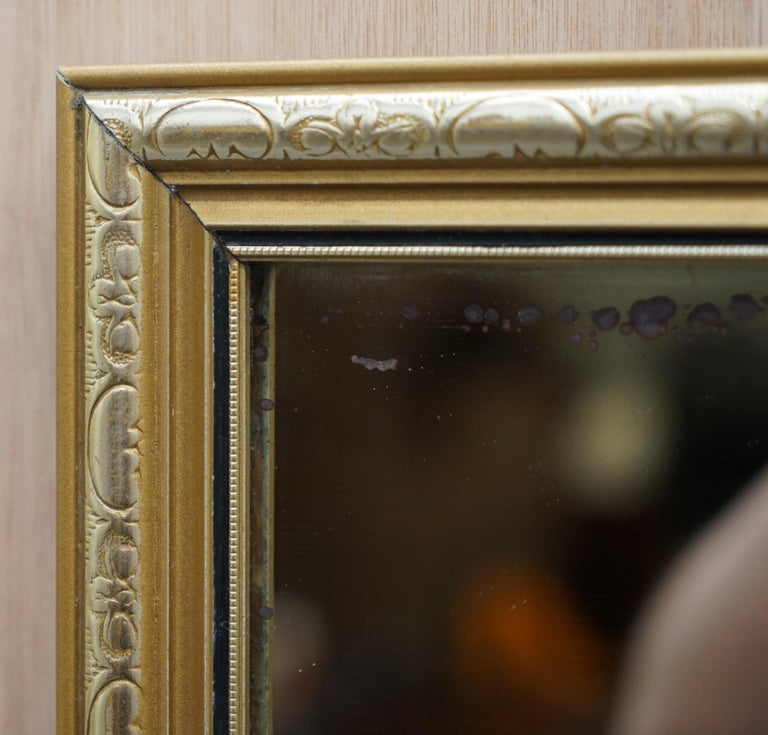 Hand-Crafted Vintage Gold and Silver Leaf-Plated French Mirror over Solid Wood Heavy Framed For Sale