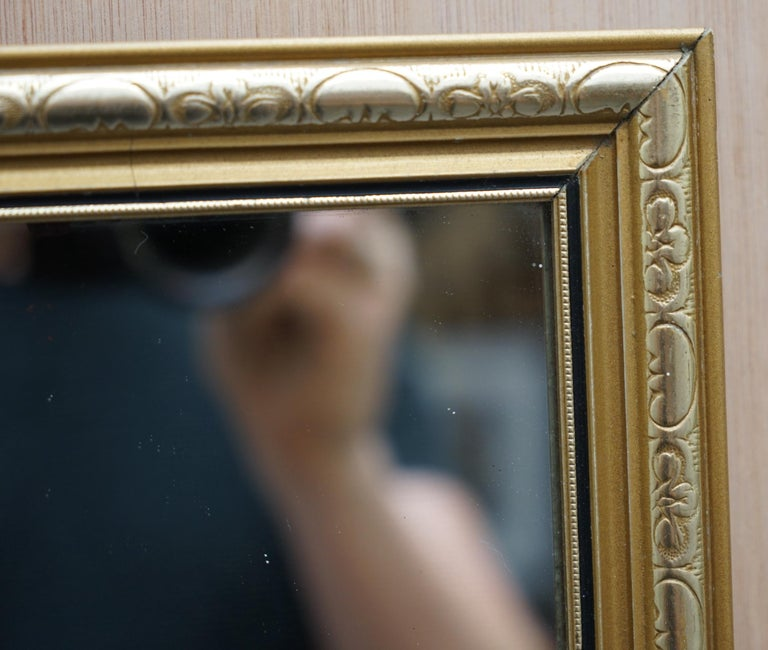 Vintage Gold and Silver Leaf-Plated French Mirror over Solid Wood Heavy Framed In Good Condition For Sale In London, GB