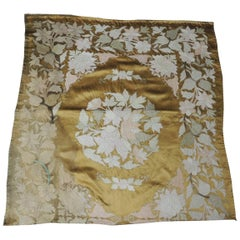 Vintage Gold and Yellow Satin Square Embroidered Textile Panel