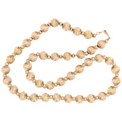 Vintage Gold Bead Necklace