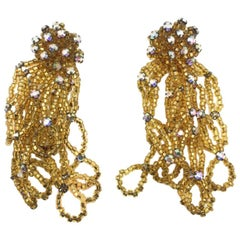 Vintage Gold Bead Statement Cascade Earrings 1960s
