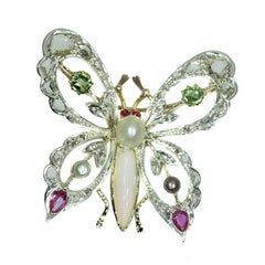 Vintage Gold Bejeweled Colorful Butterfly Brooch with Diamonds, Rubies and Opal