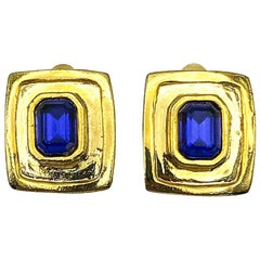 Vintage Gold & Blue Glass Earrings 1980s