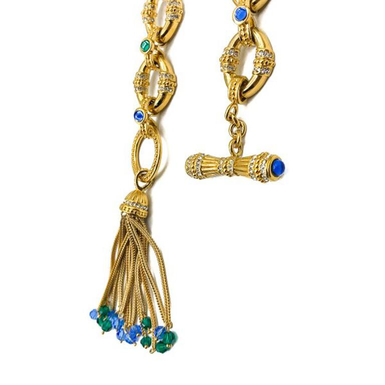 Vintage Gold Blue & Green Glass Chain Necklace with Tassel 1980s In Good Condition For Sale In Wilmslow, GB