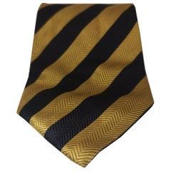 Vintage gold blue navy silk tie