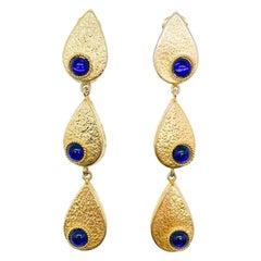 Vintage Gold & Blue Shoulder Duster Teardrop Earrings 1990s
