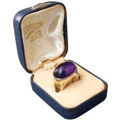 Vintage Gold Cabochon Amethyst Ring, circa 1960s