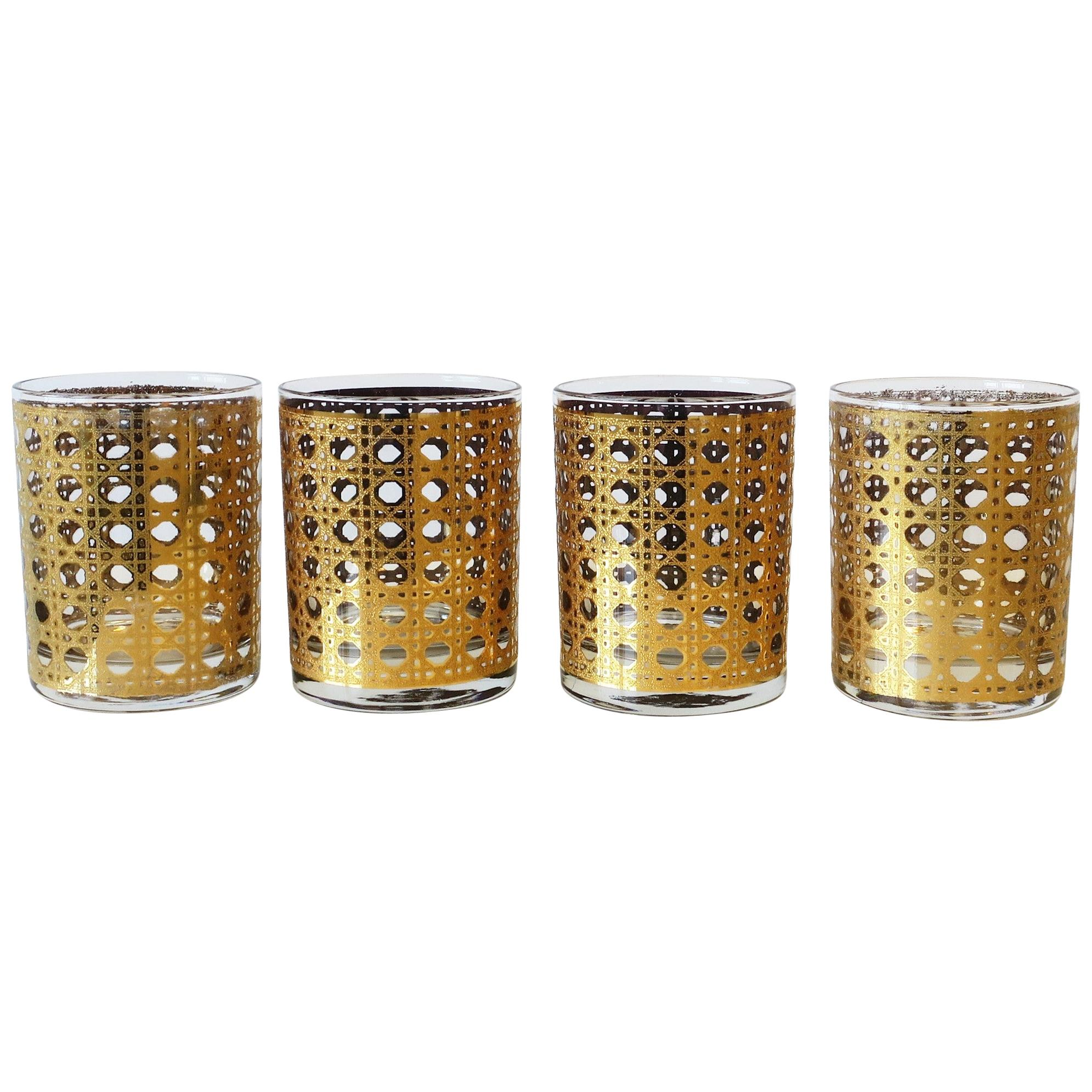Vintage Cane 22-Karat Gold Cocktail Rocks' Glasses, ca. 1960s, Set of 4