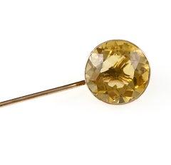Vintage Gold Citrine Stick Pin, 4.5 Carat