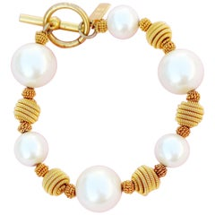 Vintage Gold Coil and Pearl Beaded Bracelet by Anne Klein, 1980s