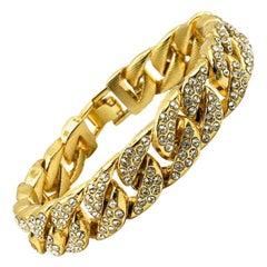 Vintage Gold & Crystal Jewelled Curb Bracelet 2000s
