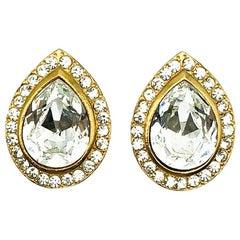 Vintage Gold & Crystal Teardrop Earrings 1980s