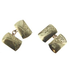 Vintage Gold Cufflinks from the 1950s, Retro Style with Elegant Engraving