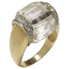 "Vintage Gold Diamond and Rock Crystal ""spinning"" Ring"