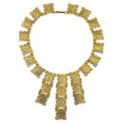 Vintage Gold Egyptian Revival Fanned Bib 1960s