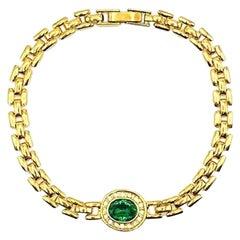 Vintage Gold & Emerald Crystal Bracelet 1990s