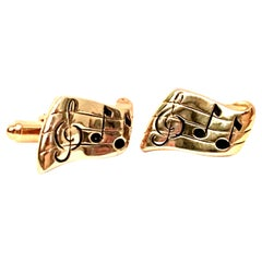 "Vintage Gold & Enamel ""Lyric"" Cufflink Pair By, Hickok"