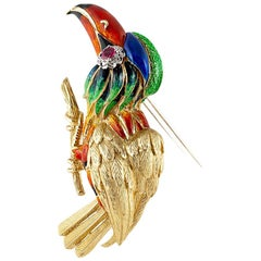 Vintage Gold Enamel Toucan Brooch