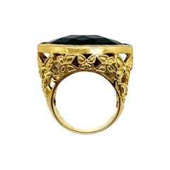 Vintage Gold & Faceted Jet Glass Ring with Butterfly Gallery 1970s