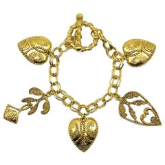Vintage Gold Fancy Heart Charm Bracelet 1990s