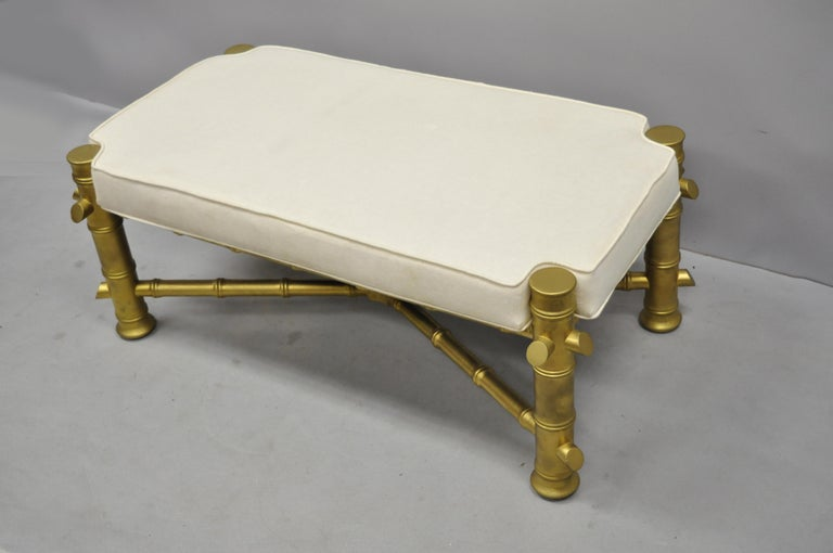 Vintage Gold Faux Bamboo Chinese Chippendale Style Upholstered X-Frame Bench For Sale 3