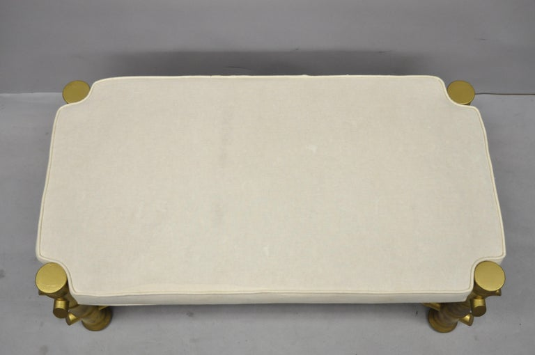 Vintage Gold Faux Bamboo Chinese Chippendale Style Upholstered X-Frame Bench In Good Condition For Sale In Philadelphia, PA