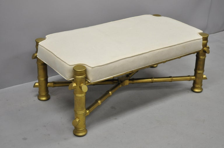 20th Century Vintage Gold Faux Bamboo Chinese Chippendale Style Upholstered X-Frame Bench For Sale