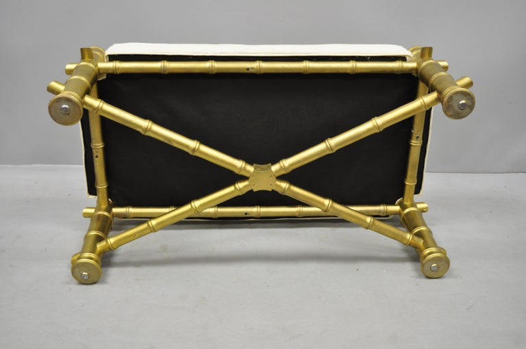 Vintage Gold Faux Bamboo Chinese Chippendale Style Upholstered X-Frame Bench For Sale 2