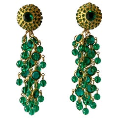Vintage Gold Faux Emerald Tassel Statement Earrings
