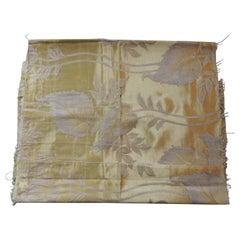 Vintage Gold Floral Silk Damask Textile Fragment