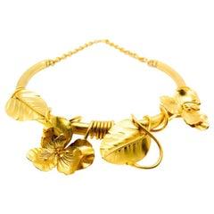 Vintage Gold Floral Vine Collar 1990s